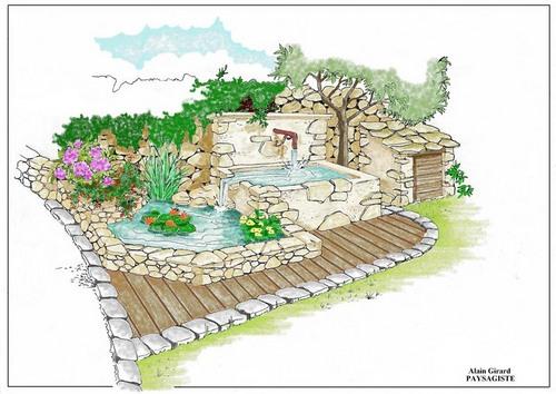 Dessins de bassins fontaines for Jardin japonais dessin