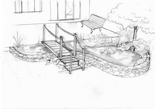 Dessins de bassins noir et blanc for Croquis jardin